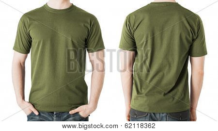 clothing design concept - man in blank khaki green t-shirt, front and back view