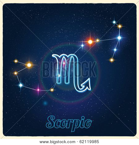 Vector constellation Scorpio with Zodiac sign