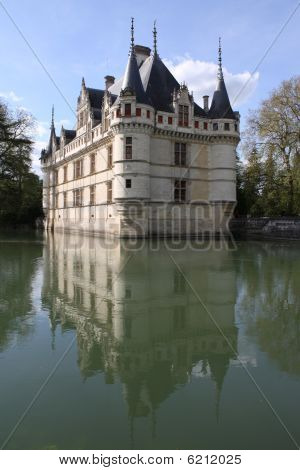 France, Loire Valley, Azay Le Rideau And Moat