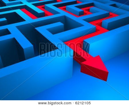 Red path across blue labyrinth
