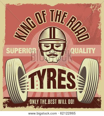 Vintage metal sign -Retro garage tin poster - Vector illustration with removable grunge texture effect