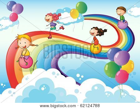 Illustration of a group of kids playing at the sky with a rainbow