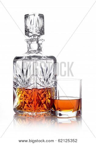 Whisky In A Carafe And A Glass Isolated On White