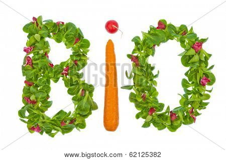 the word organic salad from vegetables and written. healthy diet with organic food