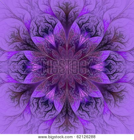 Beautiful Fractal Flower In Purple, Claret And Gray. Computer Generated Graphics.