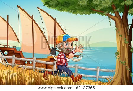 Illustration of a smiling lumberjack walking while carrying an axe