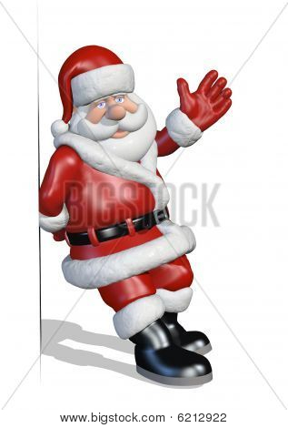Santa Leans Against An Edge Or Border
