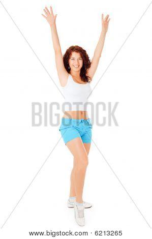 Beautiful Woman Raises Hands Up