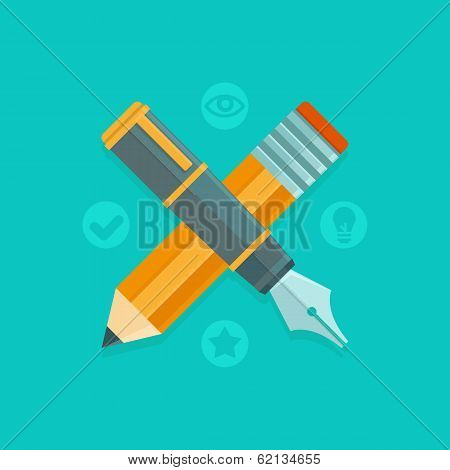 Vector Graphic Design Concept - Pen And Pencil