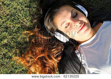 Cheerful In The Park Listening Music
