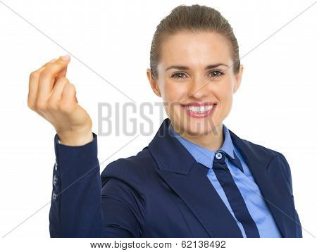 Portrait Of Smiling Business Woman Snapping With Fingers