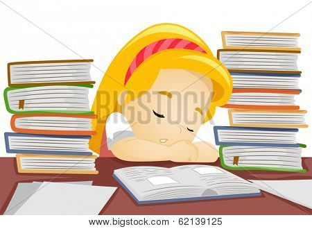 Illustration of a Little Girl Falling Asleep While in the Middle of Studying