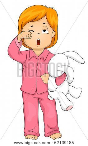 Illustration of a Little Girl in Pajamas Who Has Just Woken Up