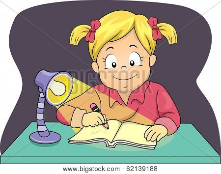 Illustration of a Little Girl Using a Lamp to Study at Night