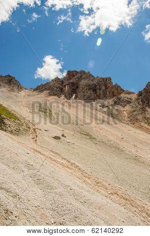 Mountain Ridge With Scree Bellow