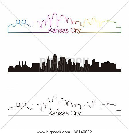 Kansas City Skyline Linear Style With Rainbow