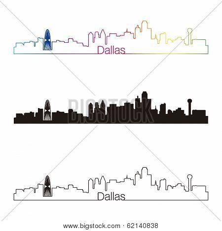 Dallas Skyline Linear Style With Rainbow