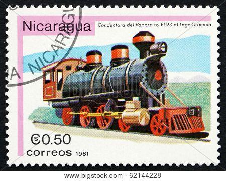 Postage Stamp Nicaragua 1981 Vaporcito 93, Locomotive