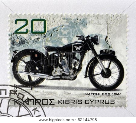 CYPRUS - CIRCA 2007: A stamp printed in Cyprus shows a motorbike Matchless 1941 circa 2007