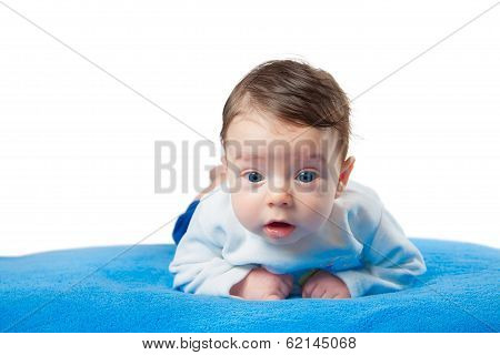 Baby Boy On Blue Blanket