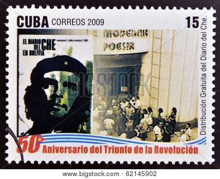 stamp 50 anniversary of the triumph of the revolution shows free distribution Che diary