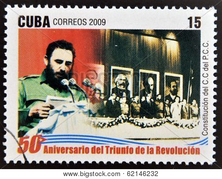 stamp 50 anniversary of the triumph of the revolution shows Fidel Castro