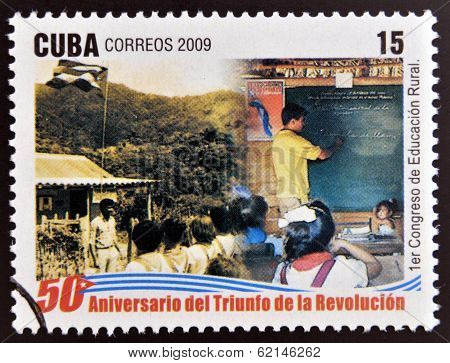 stamp 50 anniversary of the triumph of the revolution shows first congress of rural education