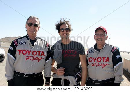 LOS ANGELES - MAR 15:  Eric Braeden, Adrien Brody, Dr. William Pinsky at the Toyota Grand Prix of LB Pro-Celebrity Race Training at Willow Springs Speedway on March 15, 2014 in Rosamond, CA