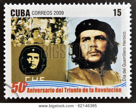 stamp 50 anniversary of the triumph of the revolution shows Day of the Heroic Guerrilla Che Guevara