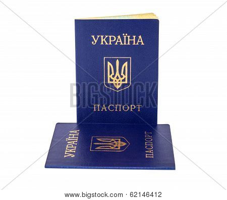 Ukrainian Passports Isolated On The White Background