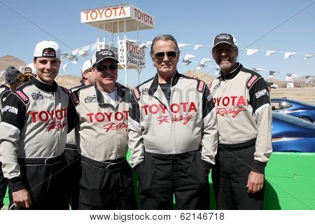 LOS ANGELES - MAR 15:  Colin Egglesfield, Al Unser Jr, Eric Braeden, Kyle Petty at the Toyota Grand Prix of LB Pro-Celebrity Race Training at Willow Springs Speedway on March 15, 2014 in Rosamond, CA