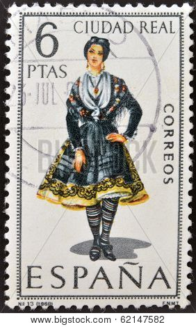 A stamp printed in Spain dedicated to Provincial Costumes shows a woman from Ciudad Real