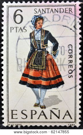 A stamp printed in Spain dedicated to Provincial Costumes shows a woman from Santander