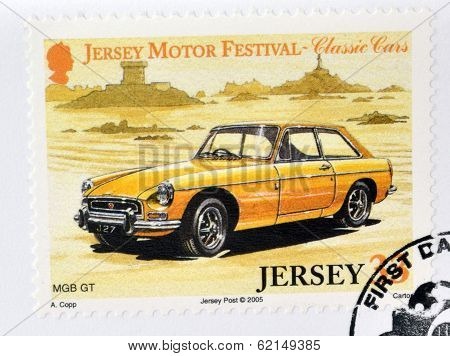 Stamp printed in Jersey dedicated to classic cars shows MGB GT