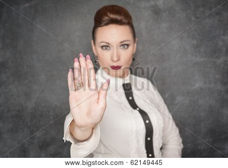 Woman Making Stop Sign Gesture