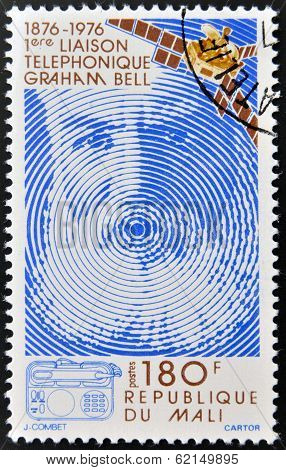 A stamp printed in Mali shows Alexander Graham Bell
