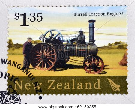 stamp printed in New Zealand dedicated to historic farm equipment shows Burrell Traction Engine