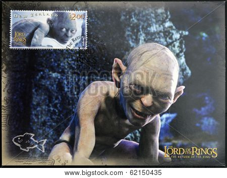 A stamp printed in New Zealand dedicated to The Lord of the Rings shows Gollum