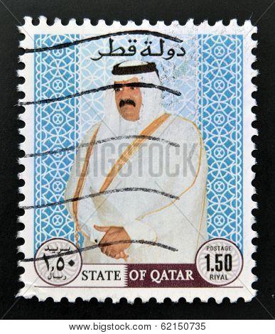 A stamp printed in Qatar shows Sheikh Khalifa bin Hamed Al-Thani Emir of Qatar
