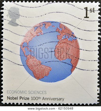 stamp shows image of Earth commemorates the 100th anniversary of the Nobel Prize for Economics