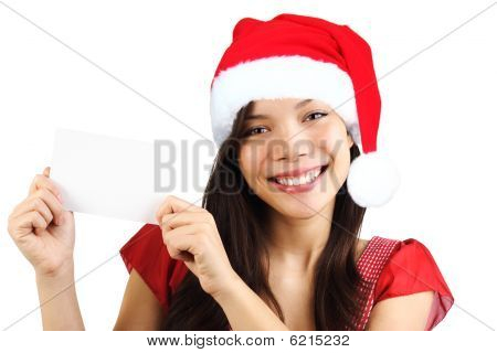 Christmas Woman Holding Blank Paper Sign