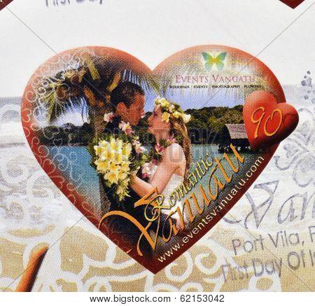Stamp printed in Vanuatu dedicated to romantic Vanuatu