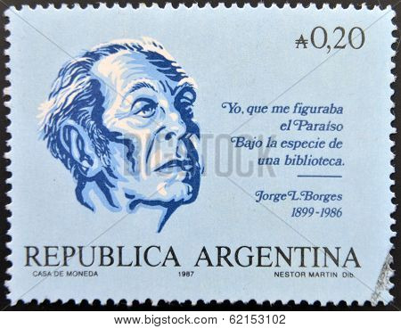 A stamp printed in argentina shows Jorge Luis Borges