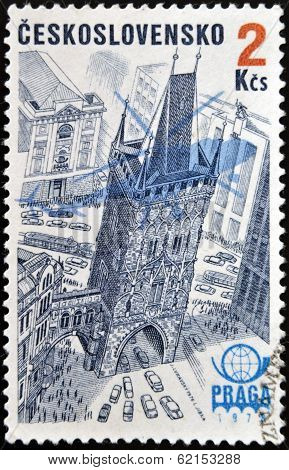 stamp shows Emblem Silhouette plane and the Powder Tower