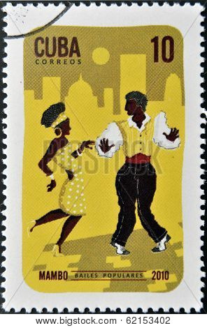 A stamp printed in Cuba dedicated to popular dances shows Mambo dance