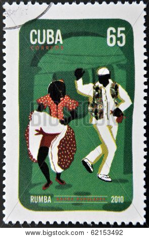 A stamp printed in Cuba dedicated to popular dances shows rumba dance
