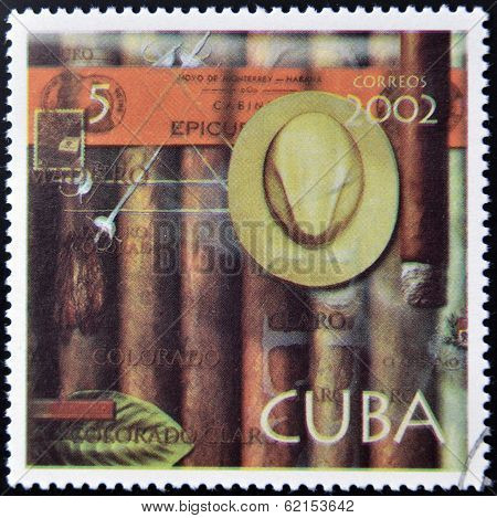 A stamp printed in Cuba dedicated to Havana cigars