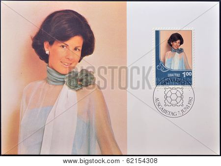 A stamp printed in Liechtenstein shows Hereditary Princess Marie Aglae