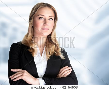 Confident business woman standing in the office, CEO of great corporate, luxury career, work place, successful people concept