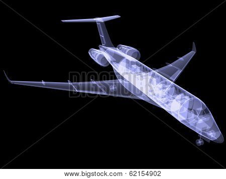 Plane with internal equipment. X-ray image
